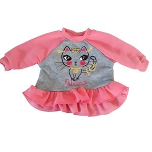 Infant baby girl top 3-6 months pink swiggles